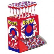 Sucette Kojak fourrée Bubble gum Cerise. Boite présentoir de 100