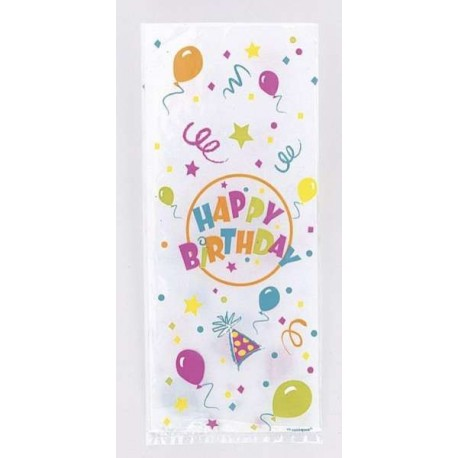 20 sachets cello explosion 'happy birthday' avec attaches