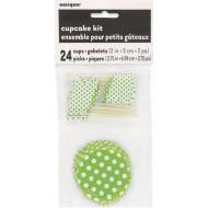 Kit pour 24 Cupcake Vert a pois Blanc