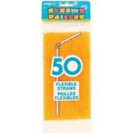 50 Pailles Flexibles Orange