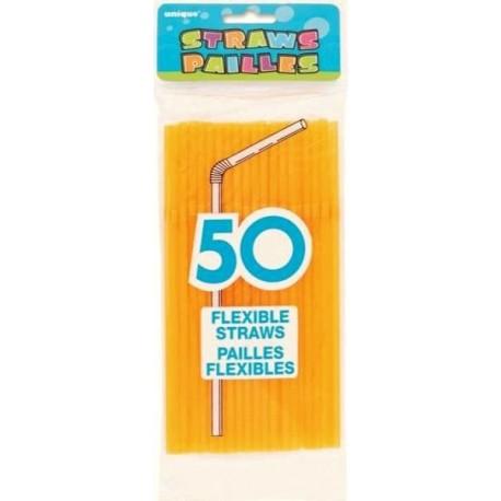 50 Pailles Flexibles Orange