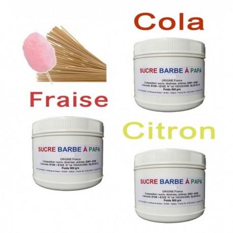 Pack de 3 Pots de 500 grs de sucre aromatisé + 100 batons 30 cm