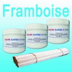 Lot de 3 pots de Sucre barbe à papa Framboise 500g + 100 Bâtons