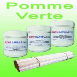Lot de 3 pots de Sucre barbe à papa Pomme Verte 500g + 100 Bâtons