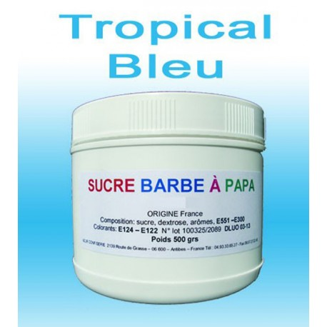 Sucre barbe à papa Tropical Bleu 500g