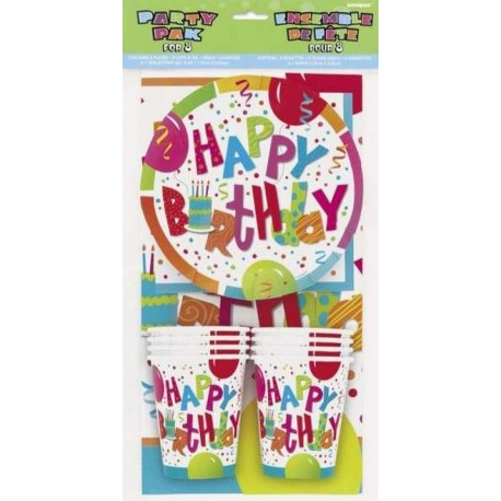 """Pack Party pour 8 """"Happy Birthday"""""""