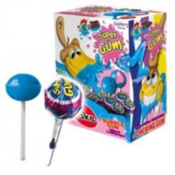 Sucette Super Gum Framboise 16 grs. Boite 100 Unités