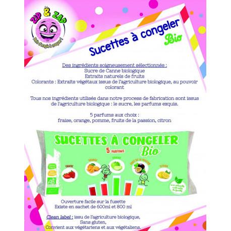 Sucettes à Congeler Bio - 5 parfums 600 ml