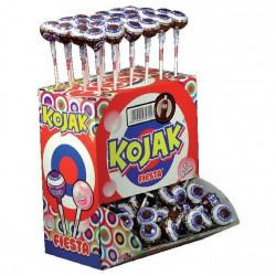 Sucette Kojak fourrée Bubble gum Cola. Boite présentoir de 100