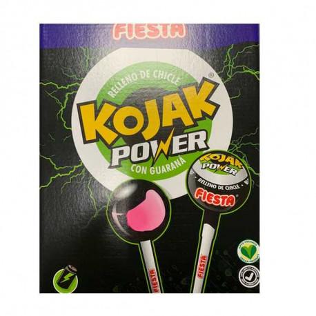 Sucette Kojak Fiesta fourrée Bubble gum Energie. Boite présentoir de 100. Boite présentoir de 100